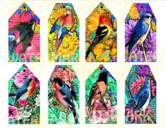 COLORFUL BIRD BOOKMARKS and or tags. Sheet of by ChangingArtitudes