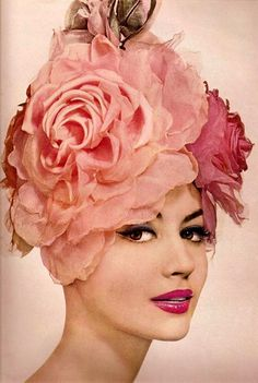 myvintagevogue:    vintage hair & makeup 1959  Conde Nast Archive    Pink and florals and cat-eyeliner, oh my!