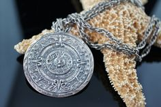 Vintage Jewelry  925 Sterling Silver Mayan Calendar Pendant necklace - Gorgeous…