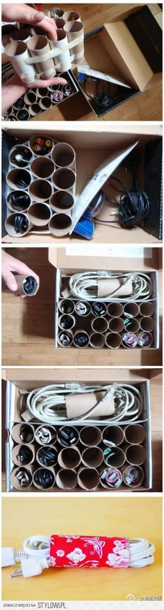 Toilet and Paper Towel holders to hold your cords and other random office supplies! LOVE this idea!
