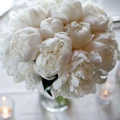 Soft white peonies, which I actually prefer to roses, less formal and apparently, less expensive ...