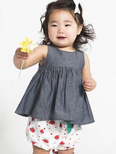 Organic Baby Girls Brandi Bloomers - White / Floral Dot Print
