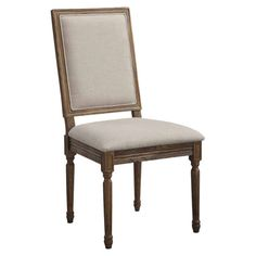 Elm side chair with fluted legs and an upholstered seat and back.   Product: ChairConstruction Material: Elm wo...