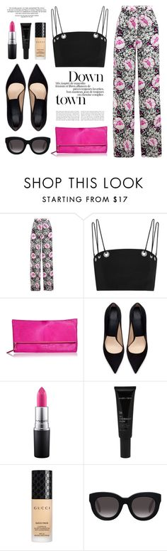 """""""Signos"""" by nadialesa ❤ liked on Polyvore featuring Duro Olowu, Thierry Mugler, ESCADA, Zara, MAC Cosmetics, Allies of Skin, Gucci, Muse, croptop and fuchsia"""