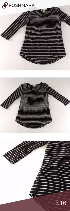 """Love By Design Striped Top Black Open Back 3/4 Slv Love by Design 3/4 Sleeve Top   Open back split in two sections horizontally  65% Polyester, 35% Rayon - Very soft, light   Size M  Chest - 18"""" across Sleeve - 18"""" from shoulder seam  Length - 26-28""""  Clean, stain free, smoke free. CT3 Love by Design Tops Blouses"""