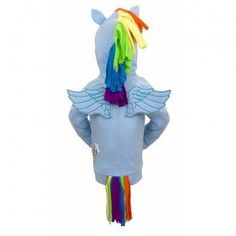 Amazon.com: My Little Pony Rainbow Dash Face Kids Sky Blue Costume Hoodie Sweatshirt with Mane, Wings and Tail: Clothing