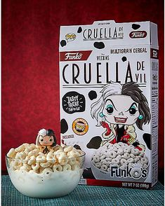 Cruella de Vil FunkO's Cereal with Pocket Pop Figure – Disney Villains - Spencer's Pop Figures Disney, Gumball, Yummy Treats, Sweet Treats, Birthday Cake For Cat, Funko Pop Dolls, Kawaii Doodles, Disney Food, Disney Villains