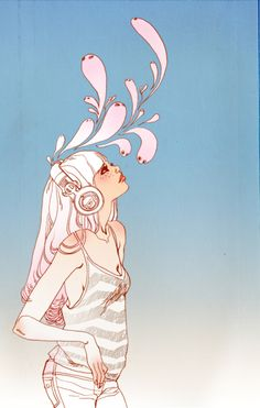 Music is love Fashion Illustration by Marguerite Sauvage #TrafficNYC #beauty #illustration