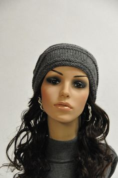 Hand knit slouchy hat charcoal grey Wool Hat ready to ship