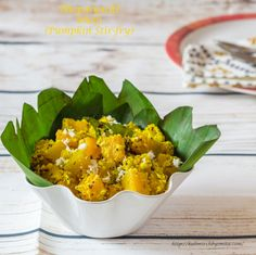 "A perfect Tiffin recipe ""Bhoplyachi Bhaji"" made wid Pumpkin-a hugely popular vegetable in Konkani cuisine!  Pumpkin tempered wid fresh curry leaves and finally finished with fresh grated coconut!"