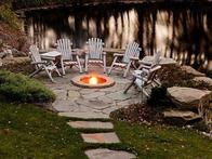 Rustic Outdoor Fire Pit and more Outdoor Living Spaces You Love on HGTV Fire Pit Backyard, Backyard Patio, Backyard Landscaping, Landscaping Ideas, Flagstone Patio, Diy Patio, Rustic Backyard, Stone Backyard, Patio Stone