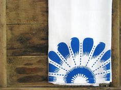 Bright and Cheerful Screenprinted Blue Floral Kitchen Towel