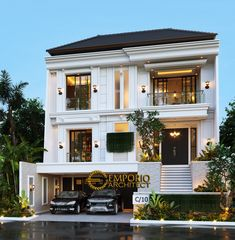 Office Building Architecture, Indian Architecture, Classic House Design, Modern House Design, 4 Bedroom House Plans, Architectural Services, House 2, Floor Design, Semarang