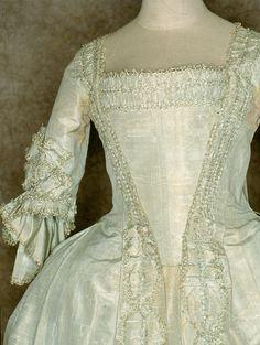 Sea green silk moiré dress (bodice detail), probably European, c. 1765. Tirelli Trappetti Foundation.