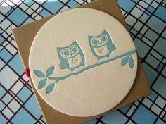 Letterpress Coaster Set - Owls
