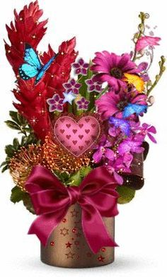 With Tenor, maker of GIF Keyboard, add popular Valentines Day animated GIFs to your conversations. Share the best GIFs now >>> Flowers Gif, Flowers For You, Butterfly Flowers, Beautiful Butterflies, Beautiful Flowers, Valentine Bouquet, Happy Gif, Art Carte, Beautiful Gif