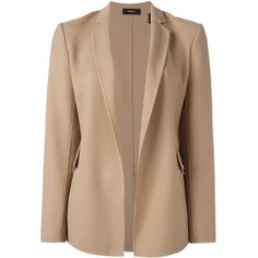 Theory Flap Pockets Open Blazer ($322) ❤ liked on Polyvore featuring outerwear, jackets, blazers, theory blazer, beige blazer, beige jacket, blazer jacket and theory jacket