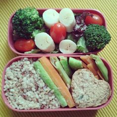 All you need is love… in your lunch. ;) ♥ Today is this heart shaped chickpea kibbeh with steamed vegetables, brown rice + lettuce, broccoli, grape tomatoes and hearts of palm salad. #obento #bento #vegan #お弁当