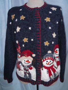 Vintage 2002 Sweater UGLY Christmas Sweater Snowmen Stars TIARA Int'l SZ Medium