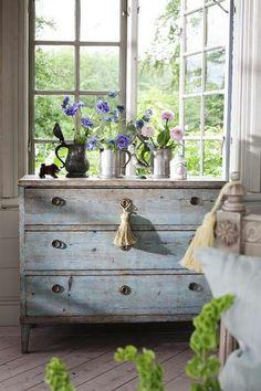vintage blue chest...