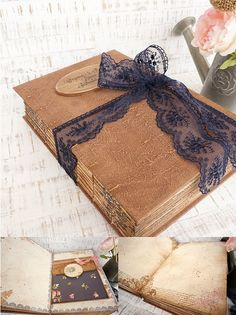 Navy blue Blush Gold Rustic Wedding Guest Book Rustic Photo
