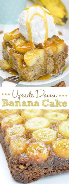 Banana Upside Down Cake This delicious Upside Down Banana Cake has rich flavor thanks to mashed bananas in the batter and a layer of banana slices in caramel sauce on top.It could be great breakfast or snack, too. Coconut Dessert, Banana Dessert Recipes, Bon Dessert, Brownie Desserts, Just Desserts, Delicious Desserts, Chocolate Desserts, Banana Snacks, Baking Desserts
