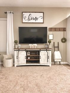 If we have to mount tv on wall opposite windows Farmhouse Tv Stand, Rustic Farmhouse Decor, Farmhouse Style, Rustic Walls, Country Style, Center Table Living Room, Living Room Decor, Home Living Room, Living Room Interior