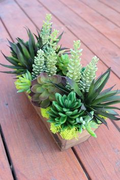 Artificial Succulent in a Rectangle Wood Box
