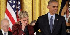 Barack Obama moved Ellen DeGeneres to tears when he presented her with the Medal of Freedom. He praised her for her courage in coming out almost 20 years ago.