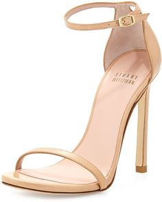 Nudist Leather Ankle-Strap Sandal, Adobe by Stuart Weitzman at Neiman Marcus. Ankle Strap High Heels, Ankle Wrap Sandals, Leather High Heels, Strap Sandals, Shoes Sandals, Heeled Sandals, Leather Sandals, Beige High Heels, Beige Sandals