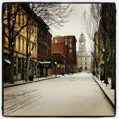 The winter view of City Hall from Upper Exchange Street - Portland, Maine