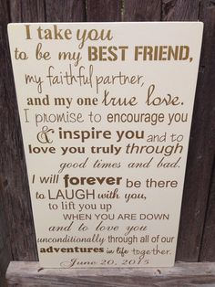 Third Anniversary Gift Anniversary Gift Wedding Vows Wood Sign Personalized Wedding Anniversary Gift I Take You To Be My Best Friend is part of Third anniversary gifts - LilMissScrappy section id shopsection leftnav 2 First Anniversary Gifts, 1st Wedding Anniversary Quotes, First Year Anniversary Gifts For Him, Anniversary Letter, Marriage Anniversary, Wedding Quotes, 15 Year Wedding Anniversary, Romantic Anniversary, Gifts For Him Valentines Day