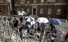 The press camp outside the Lindo wing whilst the Duchess of Cambridge gives birth to the royal heir.