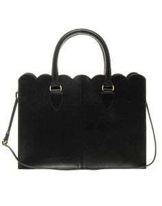 Scalloped leather tote