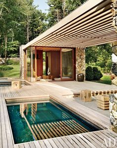 A modern poolhouse in Westport, Connecticut