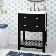 "Ka 36"" Single Bathroom Vanity Set & Reviews | Joss & Main Ceramic Undermount Sink, Ceramic Sink, Single Bathroom Vanity, Small Bathroom, Bathroom Vanities, Bathroom Ideas, Bathroom Interior, Kitchen Bath Collection, Mirror Backsplash"