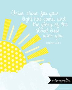 DIY Printable Digital Scripture Art Print // Isaiah 60:1 Arise Shine. $14.00, via Etsy.