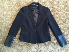 Forever New Leather-Look Sleeves Blazer Size 12