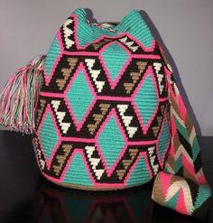 Details about Authentic Wayuu Mochila Colombian Bag Medium Size Gorgeous Colors mix Tapestry Bag, Tapestry Crochet, Women's Fashion Dresses, Boho Fashion, Womens Fashion, Crotchet Bags, Crochet Handbags, Medium Bags, Large Bags