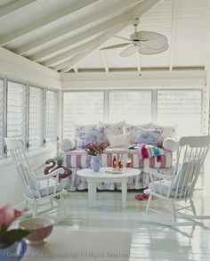 Sleeping Porch - really love this lacquered shiny striped floor