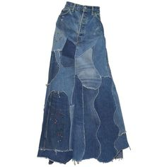 Preowned Levis Denim Big E Patchworkcustom Maxi Skirt (2,815 SAR) ❤ liked on Polyvore featuring skirts, multiple, blue maxi skirt, patchwork skirts, blue denim skirt, long denim skirts and blue skirt