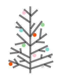 Ein Baum mit Kugeln. Ist das wohl ein Weihnachtsbaum?