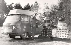 Daleks try to board the Sittingbourne postbus, Second Doctor, Dr Watson, Street Furniture, Royal Mail, Dr Who, Doctor Who, Movie Stars, History, Vehicles