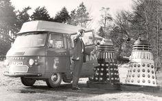 Daleks try to board the Sittingbourne postbus, 1970s.