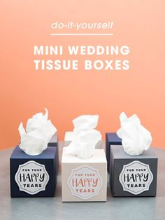 Make these mini wedding tissue boxes using your Cricut Explore in less than 5 minutes!