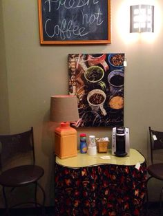 Girl's vanity repurposed as a coffee bar in our shop!