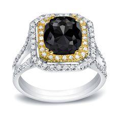 Auriya 14k Gold 1 3/4ct TDW Cushion Cut Black Diamond Engagement Ring