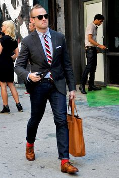 I need to know how to wear a suit. I like the color combos on this, just don't dig that he's wearing jeans.
