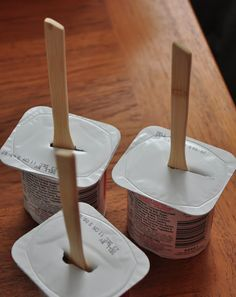 Love this idea!  Put a wooden spoon into yogurt. Freeze it and enjoy frozen yogurt pops as a healthy snacks or alternative to ice cream!