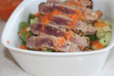 healthy eating, Healthier, healthy lunches, getting fit, diet, salads, Fish, Fish recipes, Appetizer, Side Dishes, Main Dishes, Carrot Ginger Dressing, tuna steak, weight loss